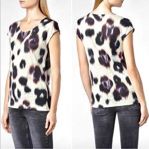 All Saints Echo Oxblood Linen Leopard Print Top